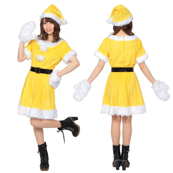 【サンタコスプレ/イエロー・黄色/レディース】 カラフルサンタ レディース イエロー