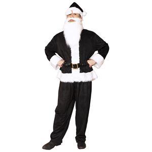 サンタコスプレ/コスプレ衣装 【ブラック 前面スナップボタン】 メンズ 帽子 ジャケット ベルト パンツ付 『GOGOサンタサン』 - 拡大画像