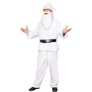 サンタコスプレ/コスプレ衣装 【ホワイト 前面スナップボタン】 メンズ 帽子 ジャケット ベルト パンツ付 『GOGOサンタサン』 - 拡大画像