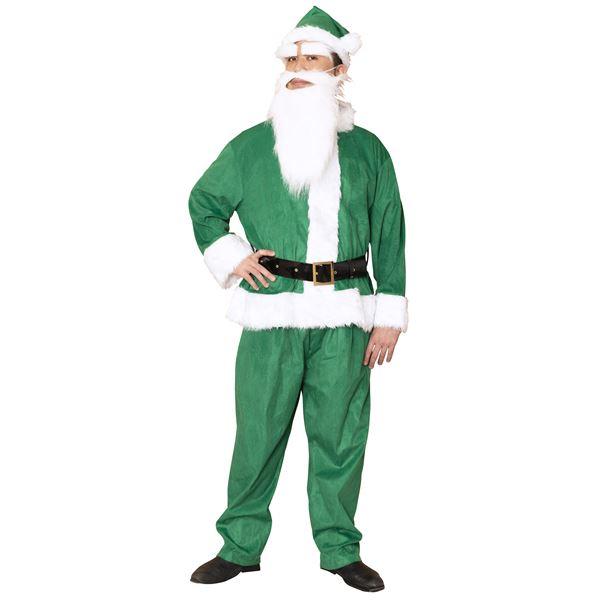 サンタコスプレ/コスプレ衣装 【グリーン 前面スナップボタン】 メンズ 帽子 ジャケット ベルト パンツ付 『GOGOサンタサン』