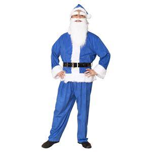 サンタコスプレ/コスプレ衣装 【ブルー 前面スナップボタン】 メンズ 帽子 ジャケット ベルト パンツ付 『GOGOサンタサン』 - 拡大画像