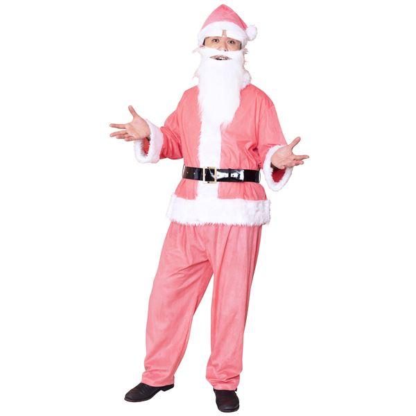サンタコスプレ/コスプレ衣装 【ピンク 前面スナップボタン】 メンズ 帽子 ジャケット ベルト パンツ付 『GOGOサンタサン』