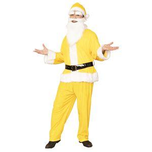 サンタコスプレ/コスプレ衣装 【イエロー 前面スナップボタン】 メンズ 帽子 ジャケット ベルト パンツ付 『GOGOサンタサン』 - 拡大画像