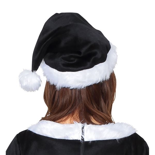 真っ黒がシックでお洒落♪サンタ帽子 ブラック