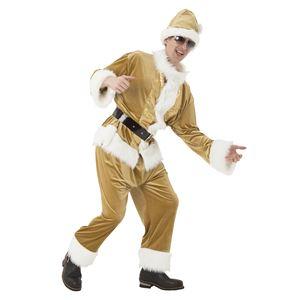 サンタコスプレ/コスプレ衣装 【ゴールドフラッシュサンタ】 メンズ 帽子 ジャケット パンツ ベルト付き 『マジサンタ』の画像