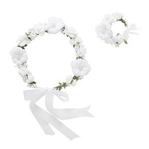 花かんむり&バングルセット ホワイト