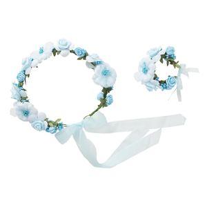 花かんむり&バングルセット ライトブルー