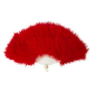 ふわふわ羽扇子/コスプレ衣装 【レッド】 天然羽毛製 メイン部分約30cm 〔イベント〕 - 拡大画像