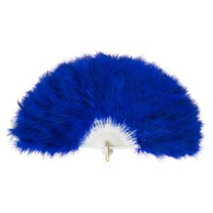 ふわふわ羽扇子/コスプレ衣装 【ブルー】 天然羽毛製 メイン部分約30cm 〔イベント〕 - 拡大画像
