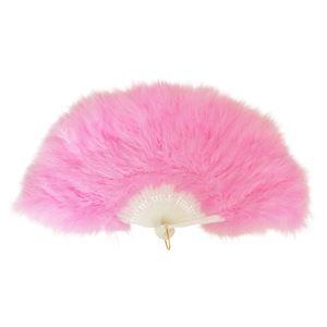 ふわふわ羽扇子/コスプレ衣装 【ピンク】 天然羽毛製 メイン部分約30cm 〔イベント〕 - 拡大画像