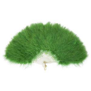 ふわふわ羽扇子/コスプレ衣装 【グリーン】 天然羽毛製 メイン部分約30cm 〔イベント〕 - 拡大画像