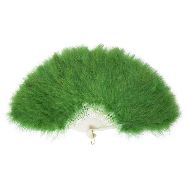 ふわふわ羽扇子/コスプレ衣装 【グリーン】 天然羽毛製 メイン部分約30cm 〔イベント〕