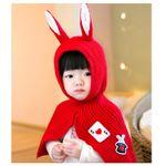 ベビーケープ/ベビーマント 【レッド】 洗える 対象年齢8か月~24か月程度 アクリル製 『うさみみケープ Baby』