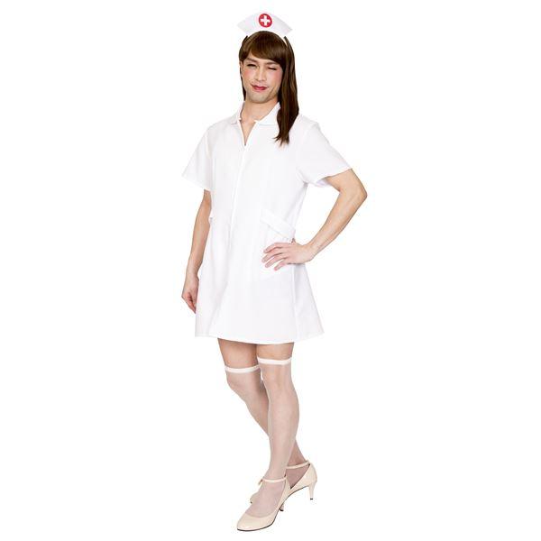 コスプレ衣装/コスチューム 【純白ナースMAN】 カチューシャ ワンピース付き 『女装MAN』 〔ハロウィン〕