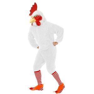 コスプレ衣装/コスチューム Charades ROCKIN ROOSTER - FUNKY CHICKEN TOO ADULT WHITE 【マスク・ジャンプスーツ・ストッキング・シューカバー】