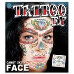 コスプレ衣装/コスチューム Tinsley Transfers Candy Skull Face タトゥーシール
