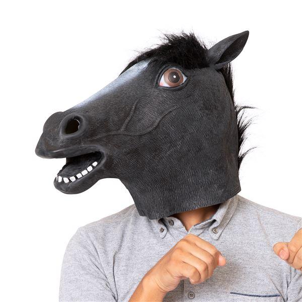 【コスプレ衣装/コスチューム】ラバーマスク 黒馬