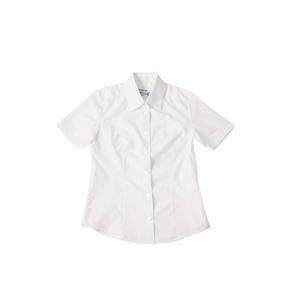 半袖シャツ 【ホワイト Mサイズ】 前ボタン式 綿 ポリエステル ドライクリーニング可 - 拡大画像