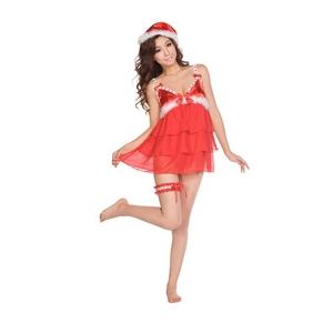 【クリスマスサンタコスプレ】ベビードール キューティーリボンサンタセット(帽子 ベビードール ショーツ ガーターベルト) - 拡大画像