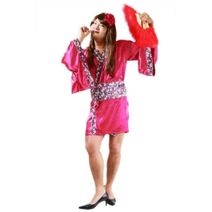 コスプレ衣装/コスチューム 【花の舞妓MAN】 髪飾り 着物 帯付き 『女装MAN』 〔ハロウィン〕 - 拡大画像