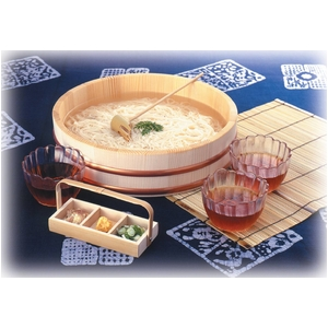 清涼 そうめんセット 3人膳 (桶、うつわ、麺うどんすくい、薬味入れ セット) - 拡大画像