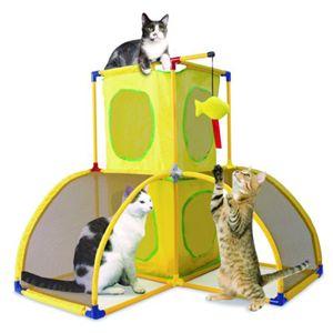 スポーツペット・猫(キャット)タワー キャットランド (キティ)クラブハウス/黄 - 拡大画像