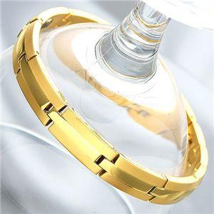 純金IP仕上げ チタンゲルマニウムブレス(ブレスレット)レディース - 拡大画像