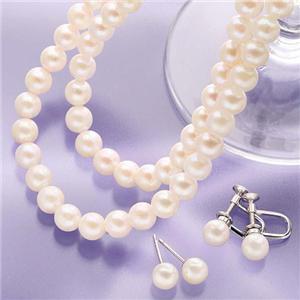 6.5〜7mm珠 あこや真珠 パールネックレス2本&パールピアスセット 【本真珠】 - 拡大画像
