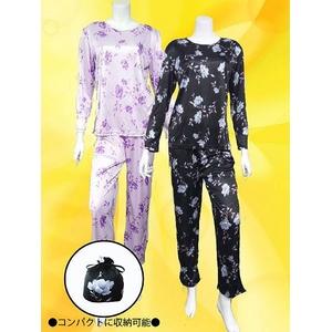 花柄 コンパクトパジャマ(長袖・ブラック・L)  - 拡大画像