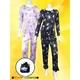 花柄 コンパクトパジャマ(長袖・ブラック・L)  - 縮小画像1