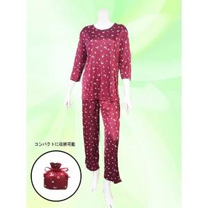 プードル柄 コンパクトパジャマ(7分袖・ワインレッド・L)  - 拡大画像