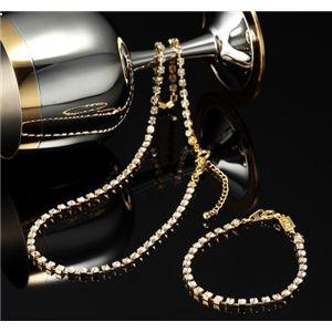 スワロフスキークリスタルガラス テニスブレス(ブレスレット)&ネックレスセット 3500-ゴールド - 拡大画像