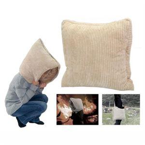 非常用防災リビングクッション/防災頭巾 【防炎加工処理済】 毛布入り - 拡大画像