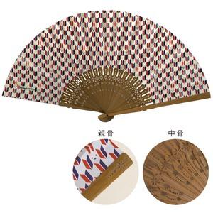 komon+ 和紙扇子70型25間【3本セット】矢絣うさぎ - 拡大画像