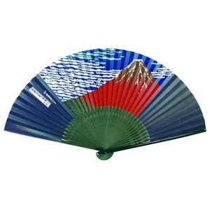 【京扇子】紳士用扇子75型35間【5本セット】赤富士 - 拡大画像