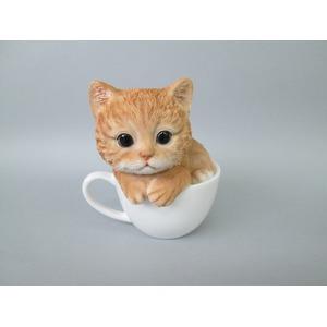 ネコの置物 ティーカップ【キャット・トラ】【2コセット】 - 拡大画像