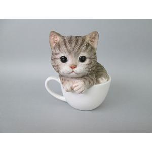 ネコの置物 ティーカップ【キャット・アメショ】【2コセット】 - 拡大画像