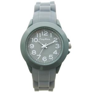 ベルト穴式 レディースラバーウォッチ【腕時計】【グレー】【2本セット】