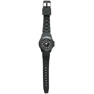 ベルト穴式 レディースラバーウォッチ【腕時計】【ブラック】【2本セット】