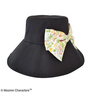 【保育士さん】ムーミン 折り畳みつば広帽子 フラワーブラック - 拡大画像