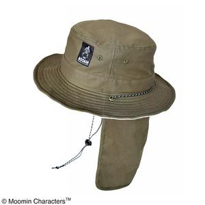 【保育士さん】【帽子】【アウトドア】ムーミン サファリハット 日除け付き フラワーカーキ - 拡大画像