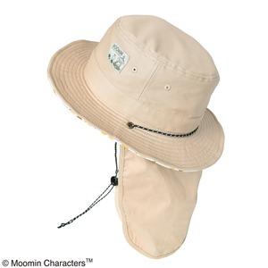 【保育士さん】【帽子】【アウトドア】ムーミン サファリハット 日除け付き フルーツベージュ - 拡大画像