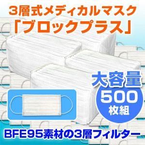 3層式メディカルマスク ブロックプラス 500枚セット(色おまかせ) - 拡大画像
