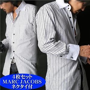 【シーン別コーディネイト】こだわりドレスシャツ4枚セット(MARC JACOBSネクタイ付き!) LL - 拡大画像