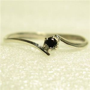 ピンキーにも使えるブラックダイヤリング 指輪 ホワイト 7号 - 拡大画像