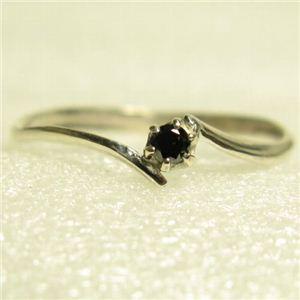 ピンキーにも使えるブラックダイヤリング 指輪 ホワイト 9号 - 拡大画像