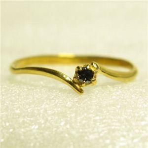 ピンキーにも使えるブラックダイヤリング 指輪 イエロー 9号 - 拡大画像