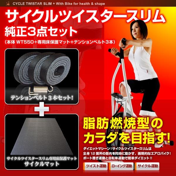 サイクルツイスタースリム純正3点セット(本体WT550+専用床保護マット+テンションベルト3本)