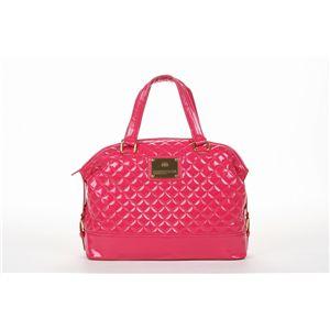 Couture クラウンプレート キルティングエナメルボストンバッグ/ピンク/XL-163 - 拡大画像