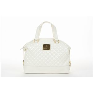 Couture クラウンプレート キルティングエナメルボストンバッグ/ホワイト/XL-163 - 拡大画像